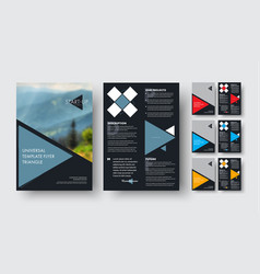 Flyer template with triangular colors elements vector