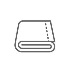 Folded large bath towel line icon vector