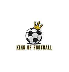 Football ball logo in gold crown lettering t vector