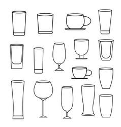 glass line icon set vector image