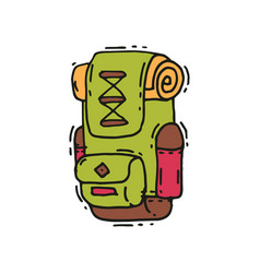 Hand drawn icon of big green backpack with vector