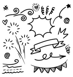 hand drawn set curly swishes swashes swoops vector image