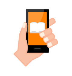 Hand holding a smartphone with a notebook icon vector
