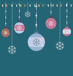 Hanging ornaments retro style vector