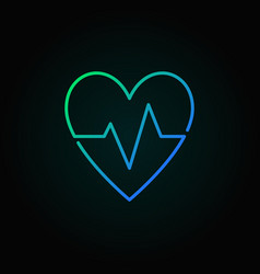 Heartbeat blue icon heart rate minimal vector