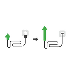 Icon concept of arrow with cable plug and plugged vector