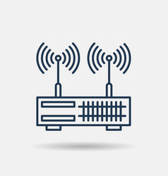 isolated linear icon - dual wan router vector image