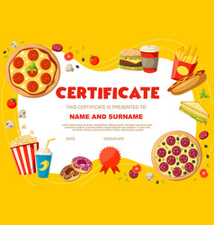 Kids diploma certificate with snacks and drinks vector