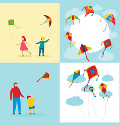 Kite flying surf banner concept set flat style vector