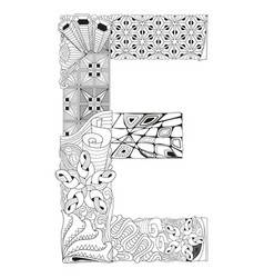 Letter e for coloring decorative zentangle vector