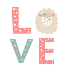 letters love with elements and cute sheep vector image