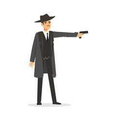 Mafia hitman character in gray coat and fedora hat vector