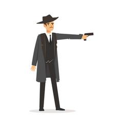 mafia hitman character in gray coat and fedora hat vector image