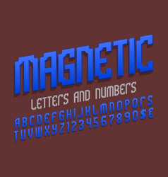 Magnetic alphabet with numbers and currency signs vector