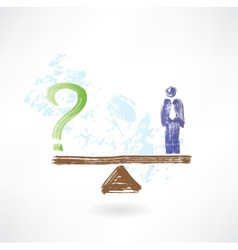 man and question grunge icon vector image