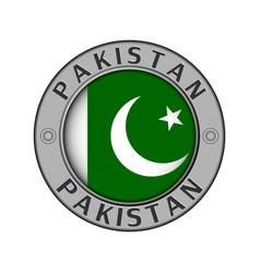 Medallion with pakistan country name and round vector