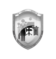 Metallic shield of woman administrator in office vector
