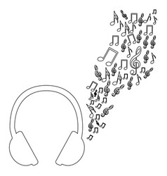 Monochrome contour of headphones with music sound vector