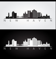 new haven usa skyline and landmarks silhouette vector image