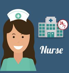 nurse medical hospital service 24-7 vector image