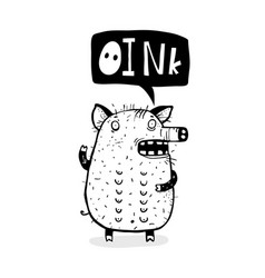 oink saying funny pig cartoon vector image