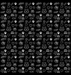 pattern cat lover dark background vector image
