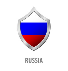 russia flag on metal shiny shield vector image