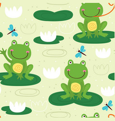 seamless pattern with cute frog vector image