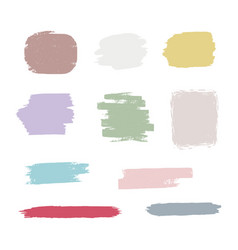 set hand drawn brush strokes stains vector image