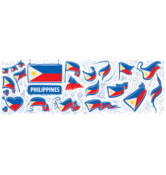 Set national flag philippines vector