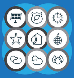 Set of 9 eco icons includes aqua world ecology vector