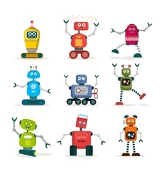 Set of colorful robots flat icons vector image