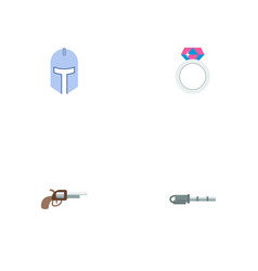 set of gaming icons flat style symbols with gun vector image
