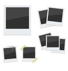 Set Polaroid photo frames on white background vector