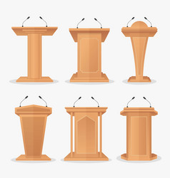Set wooden podium tribune with microphones vector