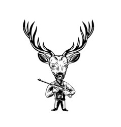 Stag buck or deer hunter with hunting rifle retro vector