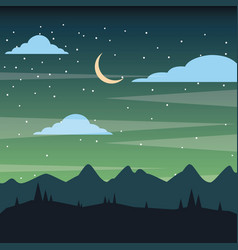 Starry night sky silhouette of the mountain vector
