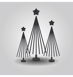 Stylized triple christmas trees vector image