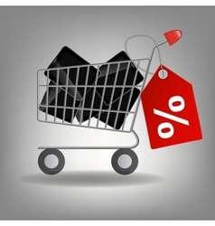 supermarket shopping cart with tablet ic vector image