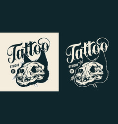 tattoo studio monochrome vintage badge vector image