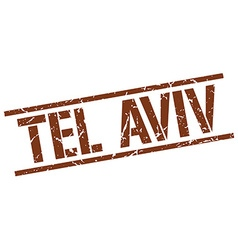 Tel Aviv brown square stamp vector