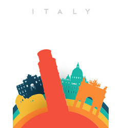 Travel italy 3d paper cut world landmarks vector