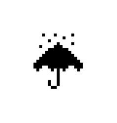 Umbrella and rain pixel icon weather vector