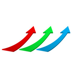 Up moving colored arrows vector