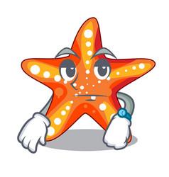 waiting underwater sea in the starfish mascot vector image