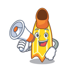 With megaphone swim fin character cartoon vector