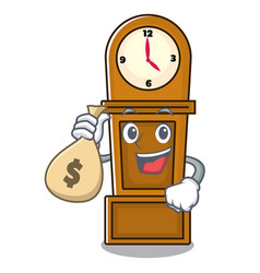 With money bag grandfather clock character cartoon vector