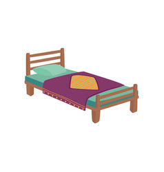 Wooden bed for kids with pillow and purple blanket vector