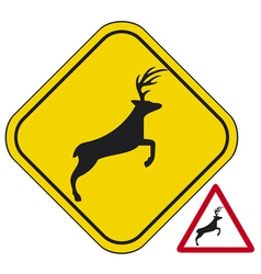 Deer crossing traffic warning sign vector image vector image