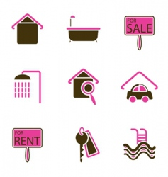 house objects icons vector image vector image
